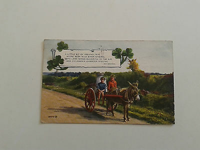 Postcard - IRELAND - Milk cart with Donkey and Children - Posted 1938