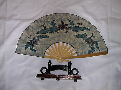 """Small 14"""" x 8"""" japanese fan with wooden stand"""