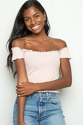 74d29dbb6053ae brandy melville Pastel Pink ribbed off shoulder Jessie Thermal Top Nwt XS S