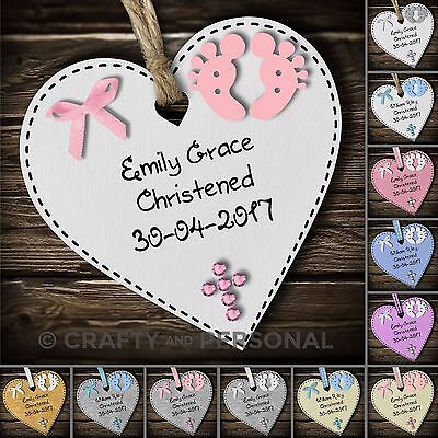 Personalised Baby's Christening gift plaque Baptism heart keepsake for boy girl