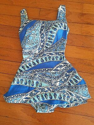 ROSE MARIE REID Vintage 1960s Blue & White Swimsuit Pinup 12 Floral 100% Nylon