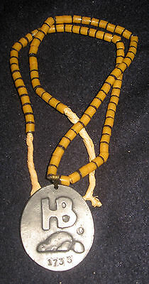 1733 Fort Albany Hudson Bay Fur Trade Silver Medal Glass Trade Bead Necklace