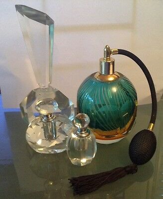 Vintage collection of Art Glass and Crystal Perfume Bottles