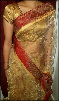 Beautiful Designer Gold Saree with Maroon/Red Border and Matching Blouse Piece