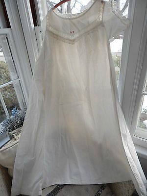 Antique Victorian French Wedding Trousseau White with Redwork Nightgown Chemise