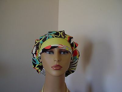 """Bouffant/Ponytail Combo Scrub Hat-""""Flower Shower""""/Yellow-Multi color- One size"""
