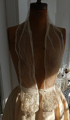 Lovely Antique Victorian Nineteenth Century Lace Scarf Lappet Shawl