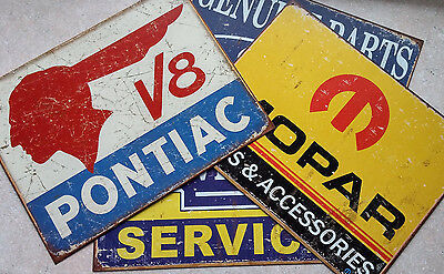 Lot of 4 AUTOMOBILE SIGNS  - Mopar Garage & Game Room Decor  - FREE SHIPPING