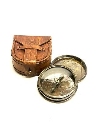 Antique Style W Ottway's Collectible Brass Compass with Leather Case -