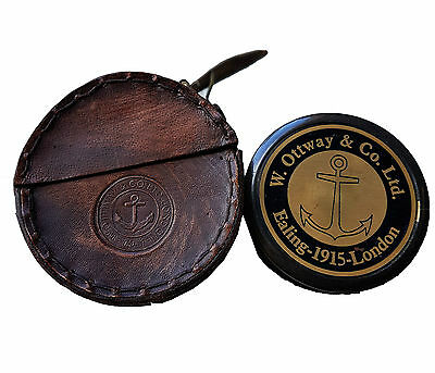 Antique Style W Ottway's Collectible Brass Compass Leather Case Robert Frost
