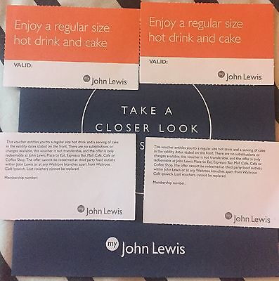 John Lewis Coffee And Cake Vouchers x4