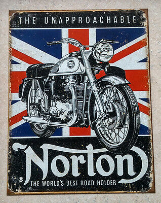 NORTON MOTORCYCLE   -  Metal Promotional Sign -  Garage Decor - Mancave
