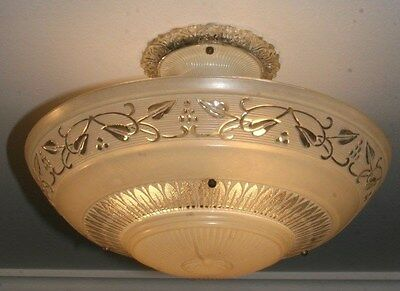 Antique cream beige glass semi flush art deco light fixture ceiling chandelier