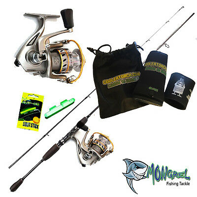New Night Stalker Rod & Reel Combo With Cooler Torch and Packet of 2 Glow sticks