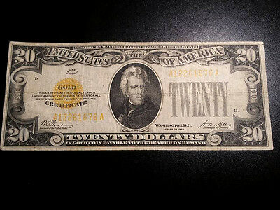 1928 $20 Gold Certificate. Would grade Very Fine
