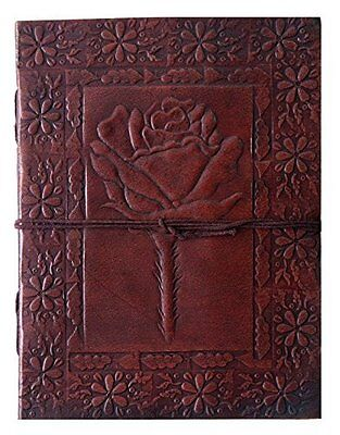 "Leather Journal/Notebook/Sketchbook Embossed Rose Blank Book 8""x6"" Brown"