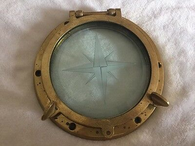 Original Brass Ships Porthole Maritime Nautical Etched Glass Window Hatch Bolts
