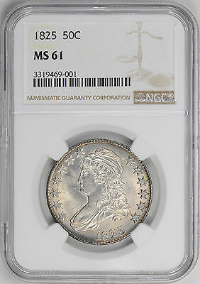 1825 Capped Bust 50C Ngc Ms 61