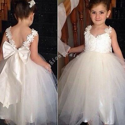 Flower Kid Princess Wedding Bridesmaid Birthday Party Pageant Dance Formal Dress