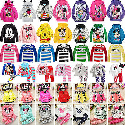 Kids Baby Boys Girls Mickey Minnie Hoodie Top T-Shirt Coat Pants Outfit Clothes