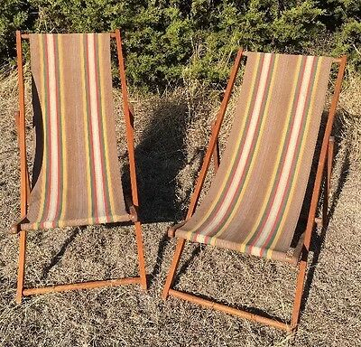 Pair of Vintage Wood & Canvas Folding Deck Chairs Adjustable Beach Ship