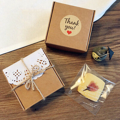 120pcs/10set Brown Kraft Paper Thank You Gift Tags Wedding Party Favor Label