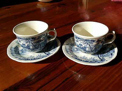 Vintage Flow Blue Tea Cup and Saucer x 2 Made in Japan circa 1930s