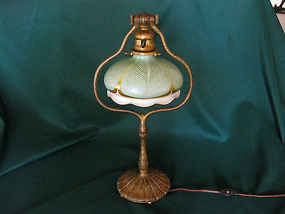 "TIFFANY STUDIOS BRONZE GOLD DORE HARP LAMP #424 with 7"" QUEZAL PULLFEATHER SHADE"