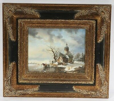 Vintage framed Oil Painting Landscape Winter Scene Signed C. Liton