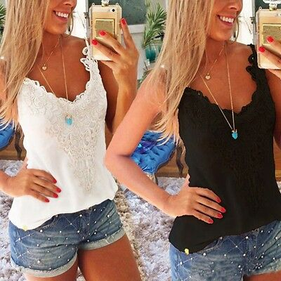 Chic Women Summer Lace Vest Tops Blouse Casual Tank Tops Sleeveless T-Shirt Tee