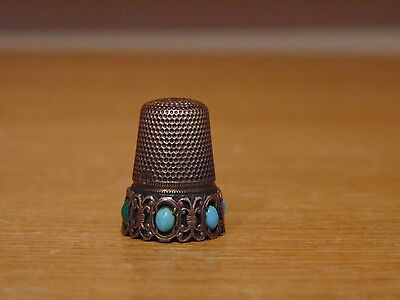 Antique Sterling Silver And Turquoise Thimble