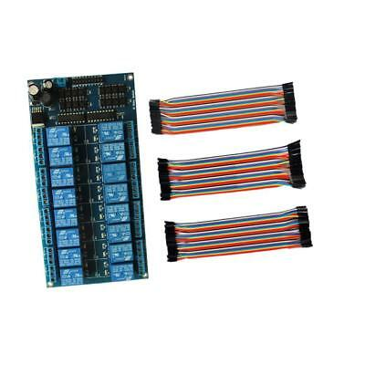 16-Channel 12V Relay Module With Optocoupler + Jumpire Wire Set New
