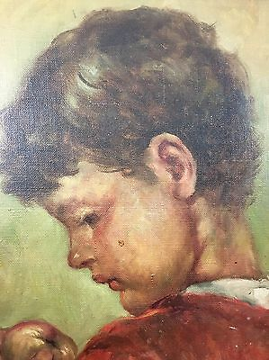 Károly Nagy (1903-1978) Oil On Canvas Portrait Of A Boy With Fruit