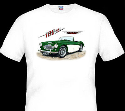 Austin Healey 100-6  100 - 6  Roadster     White T-Shirt  Men's  Ladies  Kid's