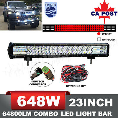 23Inch 648W PHILIP Combo LED Light Bar Spot Flood Offroad 4WD Driving Lamp