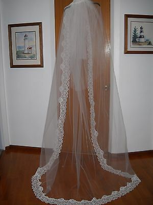 Vintage White Tulle Triple Layer Lace trim Cathedral length Bridal Veil