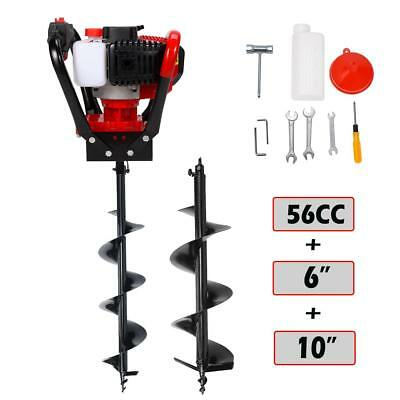 """One Man 52cc 2.3HP Gas Powered Post Hole Digger w/ 6"""" + 10"""" Auger Bits Planting"""
