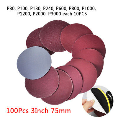 "100Pcs 3"" Inch 75mm Sander Disc Mix Sanding Polishing Flocking Pad Sandpaper"