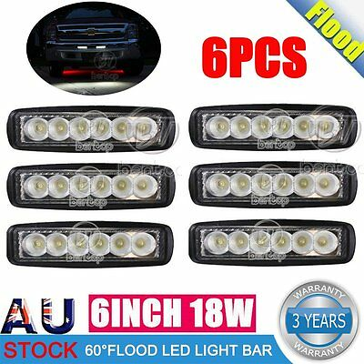 6x 18W 6INCH LED WORK LIGHT BAR OFFROAD FLOOD DRIVING AUTO TRUCK UTE 4WD LAMP