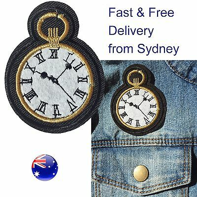 Watch patch iron on -Fast delivery- gold and white time showing clock embroidery
