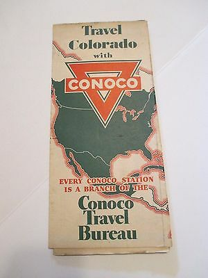 Vintage CONOCO COLORADO Oil Gas Service Station Road Map~1933 Estimate