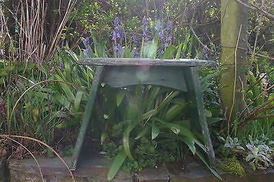 Vintage Wooden Rustic Milking Stool with Original Green Paintwork Farmhouse