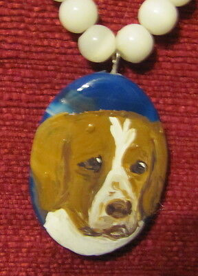 Brittany hand painted on blue oval Onyx Agate pendant/bead/necklace