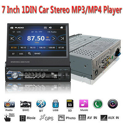 """GPS 7"""" Single 1DIN Touch Slip Down Car Stereo FM Bluetooth MP4 MP5 Player Aux SD"""