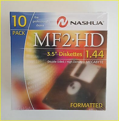 1 x 10-Pack Nashua MF 2HD Computer PC Floppy Diskettes Formatted 1.44MB 3.5inch