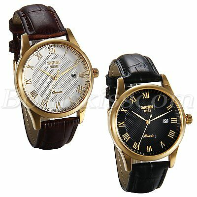 Business Casual Roman Numberals Grid Face Men's Leather Strap Date Quartz Watch