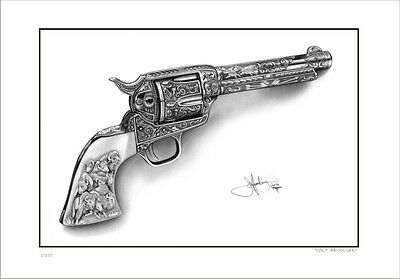 Colt  Peace Maker   Revolver    Drawing      Limited Edition  Print