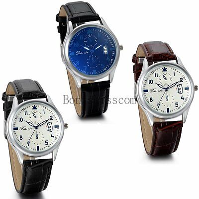 Classic Dress Date Calendar Leather Strap Band Men's Quartz Analog Wrist Watch