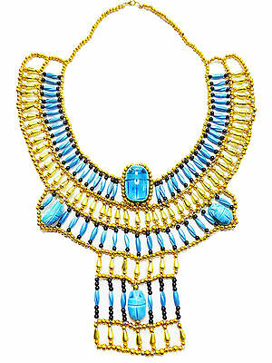 Pharaohs Handmad  Multi Beaded Cleopatra Scarab Necklace Collar Christmas   234