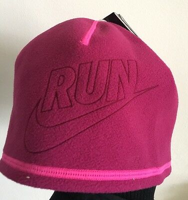 Nike Run Ladies Running Hat Reversible Pink Stay Warm Technology New Therma Fit